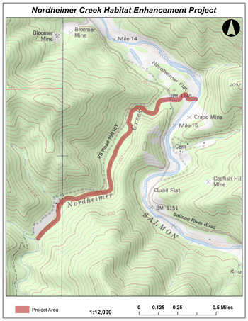 Nordheimer Creek Habitat Enhancement Project map. Click to enlarge