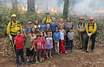 Forks of Salmon Elementary School kids learning about prescribed fire at Butler Flat during TREX 2015.